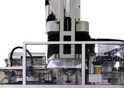 Adjustable dust extraction hood, CNC controlled, for 5 axis system