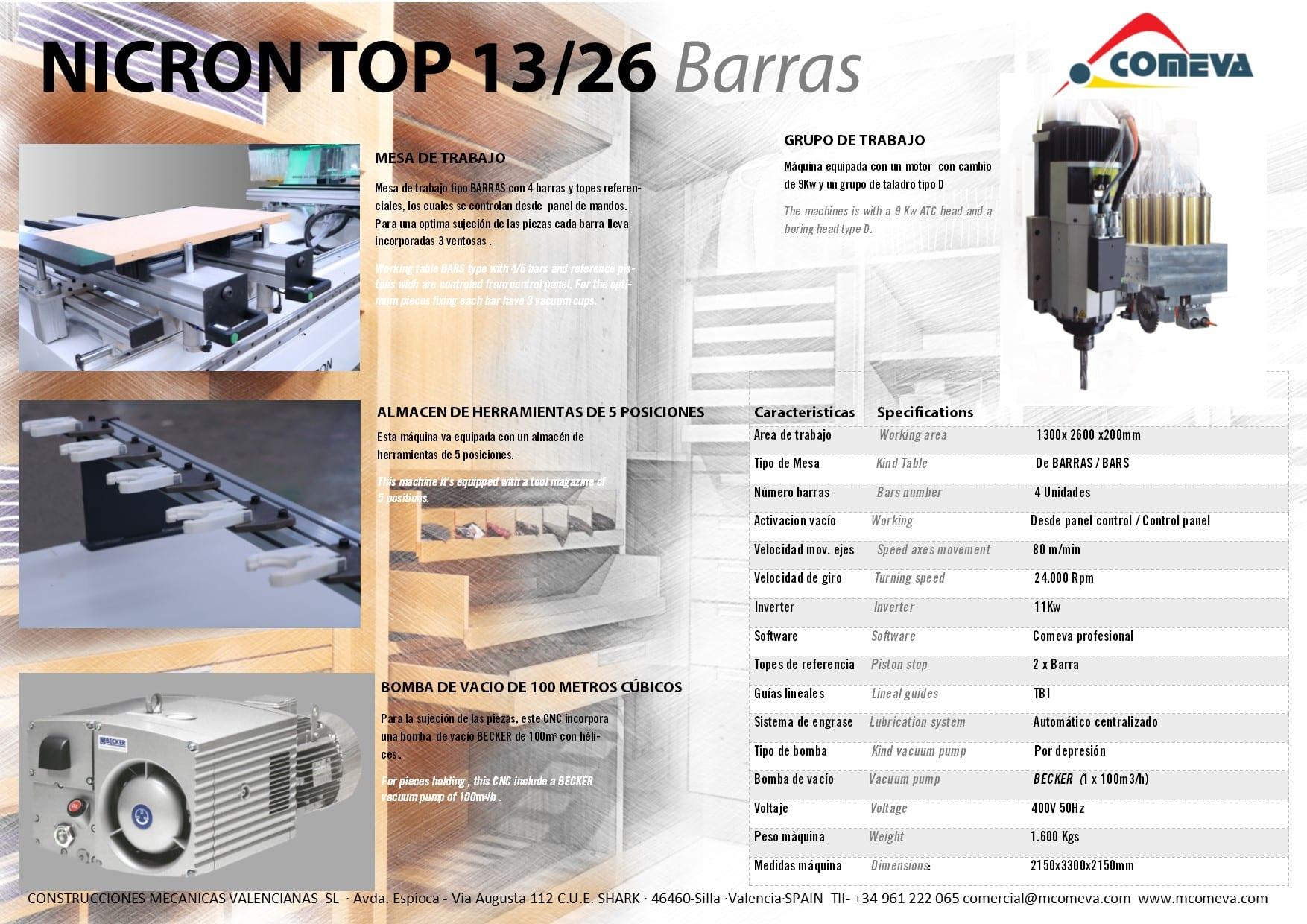 CNC NICRON 13-26 BARRAS CARA B